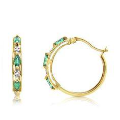 9ct Yellow Gold   Diamond & Emerald  Hoop Earrings   TDW 0.02ct
