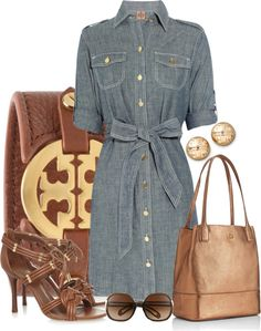 """""""Shirtdress  Tory Burch"""" by silverlining07 on Polyvore"""