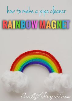 Rainbow magnets - an easy craft to do with your kids! They are cute and cheerful and a great way to welcome spring!
