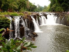 waterfall at lao wet green river