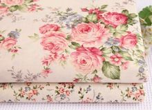 Beautiful 40x50cm Spring Garden Beige Color Rose Flowers Printed Cotton Fabric Bundle(China (Mainland))