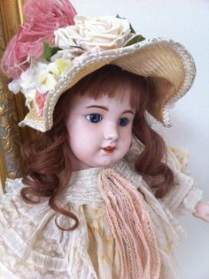 Rare French SFBJ doll Jumeau model                                                                                                                                                                                 More Victorian Dolls, Antique Dolls, Vintage Dolls, Teddy Bear Toys, Creepy Dolls, Bisque Doll, Old Dolls, Collector Dolls, French Antiques