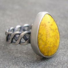 Yellow Jasper Ring - Bumble Bee Jasper Sterling Silver Ring - Bezel Set - Fancy Band - US Size 6.5, by Isueszabo