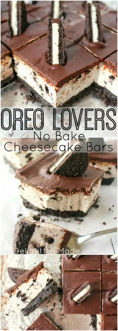 The ultimate dessert for anyone that loves OREO cookies! A thick OREO crust, cre. The ultimate dessert for anyone that loves OREO cookies! A thick OREO crust, creamy OREO no-bake cheesecake filling, Desserts Keto, Xmas Desserts, Just Desserts, Delicious Desserts, Yummy Food, Baking Desserts, Delicious Chocolate, Fast And Easy Desserts, Easy No Bake Desserts