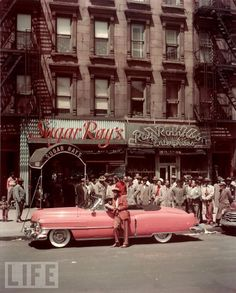 1950 Harlem - Sugar Ray Robinson by his Pink Cadillac