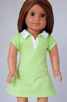 American Girl Doll Clothes Pattern: Polo Shirt Dress | Liberty Jane Doll Clothes Patterns For American Girl Dolls