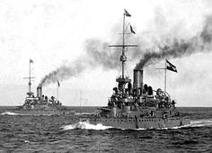 Two of the Monarch class (launched 1895/6) battleships of the Austro-Hungarian Navy. Photo taken during WW1 when they were being used for coastal defence. One also bombarded Italian positions, as well as the Italian naval base at Venice.