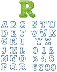 Punky Monkey Applique Font Sizes: 2.5in, 3.75in, 4.75in, 5.75in, 6.75in  Upper Case, Numbers 0-9