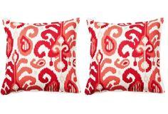 S/2 Ikat 16x16 Cotton Pillows, Raspberry