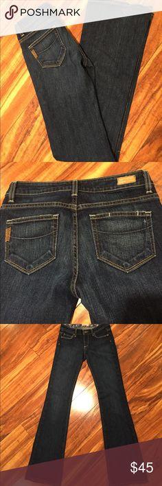 "Paige premium denim jeans. 🦋 Paige jeans, Hollywood Hills, boot cut and dark wash.  Inseam: 32"".  Slight wear to gems, as shown. Paige Jeans Jeans Boot Cut"