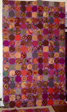 Kaffe Fassett snowball quilt by Anastasia Zbaraskaya.  In progress photo Purple Quilts, Colorful Quilts, Quilt Inspiration, Snowball Quilts, Patch Quilt, Quilt Blocks, Hexagon Quilt, Hexagons, Quilt As You Go