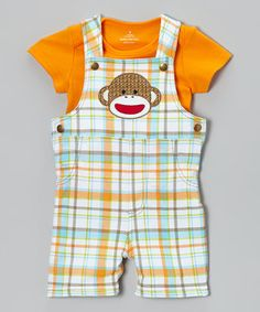 This Sock Monkey Orange & Blue Sock Monkey Overalls & Tee - Infant by Sock Monkey is perfect! #zulilyfinds