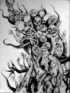 * Tree Death * - Realty Worlds Tactical Gear Dark Art Relationship Goals Skull Tattoo Design, Skull Tattoos, Body Art Tattoos, Tattoo Drawings, Art Drawings, 13 Tattoos, Skull Design, Arte Horror, Horror Art