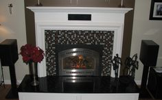 Gas Insert With Custom Tile Work And Mantel This Fireplace Has A Modern Feel To It