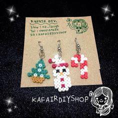 Christmas earrings perler beads by kafairdiyshop
