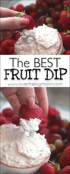 The BEST thick and creamy Fruit Dip! From www.overthebigmoon.com! Dessert Dips, Köstliche Desserts, Flourless Desserts, Summer Desserts, Fruit Recipes, Appetizer Recipes, Dessert Recipes, Cooking Recipes, Fruit Dips