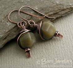 https://flic.kr/p/bijHJV | Antiqued copper earth tone earrings - 20349f | Antiqued copper and Indian Fancy Jasper earrings made for for a friend's birthday, to match a necklace I made for her family to give her too.  I've blogged about my recent work:  boojewels.blogspot.com/2012/01/all-copper-and-earth-tones...