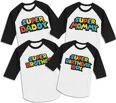 Mom and Dad of the birthday boy-Super mario version, mario birthday shirt, mario shirt, mario birthday party, super mario party MF