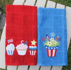 7-4-14 Machine embroidered patriotic dish towels. Embroidry designs at embroiderylibrary.com