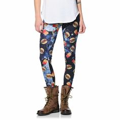 Make sure you get your style to go with the See You Monday Burger Fry Space printed leggings for girls.