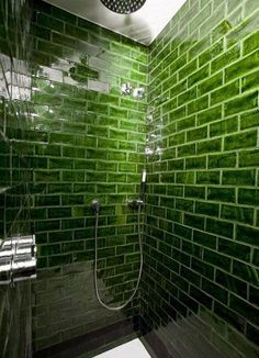 bold green subway tile Hotel Praktik Rambla Handmade tiles can be colour coordinated and customized re. shape, texture, pattern, etc. by ceramic design studios .do like the subway tile Bathroom Interior, Kitchen Interior, Diy Kitchen, Kitchen Design, Kitchen Decor, Kitchen Small, Kitchen Backsplash, Kitchen Ideas, Green Subway Tile