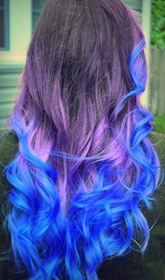 Blue Green Ombre Hair Tumblr | Hairrr ♡ / Purple and blue pastel dip dyed ombre hair on We Heart It ...
