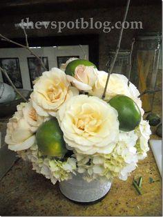 roses, limes, hydrangeas & twigs