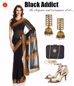 How to wear black for a festive occasion. #ethnic #elegance #black #classic #styletip