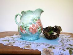 Vintage Pitcher with Pink Roses on an Aqua Blue and by ShopOnALark, $20.00