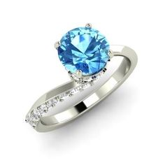 Round Blue Topaz Engagement Ring in Sterling Silver with I Diamond