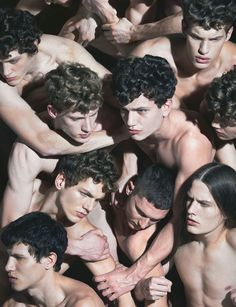 "Adrian Cardoso & Alex Pierce & Cristi Isofii & Gabriel Shinel & Marin & Vitan in ""Attack Art"" Photographed by Luca Finotti and Styled by Paolo Zagoreo for Fucking Young! Portrait Photography, Fashion Photography, Group Photography, Photoshop, Portraits, Hommes Sexy, Jolie Photo, Human Body, Pretty People"