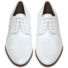 Pre-owned Rachel Comey White Brewer Oxford Brogues Flats (2,045 HKD) ❤ liked on Polyvore featuring shoes, oxfords, white, white shoes, leather sole shoes, white flat shoes, leather oxfords and white oxford shoes
