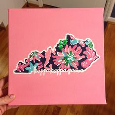 Kappa Kappa Gamma Kentucky state outline. Love the Lilly Pulitzer print on the inside! #DIY #sorority