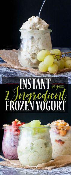 2 Ingredient Instant Frozen Yogurt   www.veggiesdontbite.com   #vegan #glutenfree #ad #TopItTuesday via @veggiesdontbite
