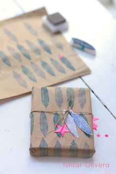 Stamped gift wrap