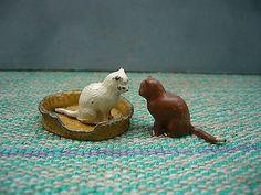 Vintage Britains Lead Farm Cats & Taylor & Barrett Lead Cat Basket