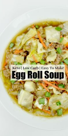Craving an egg roll? This Low Carb Egg Roll Soup is a delicious low carb version of the classic egg roll – without all t… Craving an egg roll? This Low Carb Egg Roll Soup is a delicious low carb version of the classic egg roll – without all t… Low Carb Soup Recipes, Diet Recipes, Cooking Recipes, Healthy Recipes, Low Calorie Soups, Tofu Recipes, Shake Recipes, Smoothie Recipes, Chicken Recipes