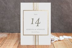 """""""Bianco"""" - Classical, Modern Foil-pressed Wedding Table Numbers in Gold by…"""