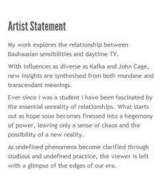 Example Of An Artist Statement That This Art Teacher Makes Her