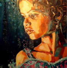 mariposa-huile-sur-toile-mixed-media-80cm-80cm-decembre.jpg - Painting, 80x80x4 cm ©2015 by Els Knockaert - Figurative Art, Canvas, Portraits