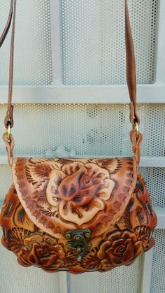 Authentic handmade girls hand tooled leather purse with traditional flowers #Handmade #Shoulderandcrossbodypurse