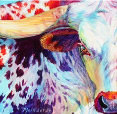 """Wanna Piece of Me?"" by Sharon Markwardt. Something tells me that the longhorn will win this showdown... #art #fineart #painting #arttovisit #gallery #painter #artist #santafe #newmexico #canyonroad #okeeffecountry #newmexicotrue #longhorn #cattle #cow #rainbow #expressionism #colors #purple #animals #cute #ox #buffalo #staringcontest #staredown #faceoff #rodeo"