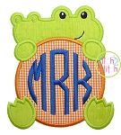 Gator Mascot Monogram Peeker Applique