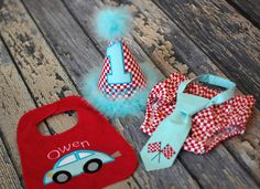 Birthday Party Hat, Diaper Cover and Tie - Perfect for First Birthday, Smash Cake Pics, Photo Prop - Transportation, Race Card Red Aqua Blue. $68.00, via Etsy.