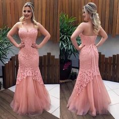 Sweetheart Pink Prom Dress, Charming Mermaid Party Dress, Lace Long Evening Dress