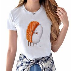Funny&Cute Cartoon Style Sushi Hug For Love Hillbilly 2017 New Listing Women's Clothing Cool Street Casual O-Neck Short Sleeves #women's street style