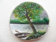 Lake before the storm  Miniature art on Scottish sea pottery by Alienstoatdesigns, $49.00