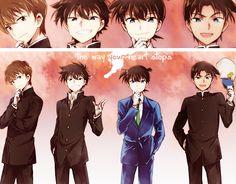 Shinichi, Heiji, Kaito and Saguru Anime Guys, Manga Anime, Detective Conan Ran, Super Manga, Fangirl, Detektif Conan, Kaito Kuroba, Detective Conan Wallpapers, Kaito Kid