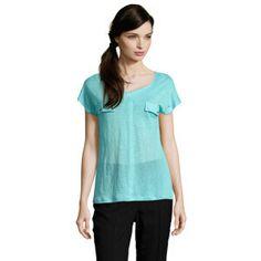 T-shirt Abudabi 100% lin Turquoise