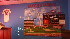 Boy Sports Bedroom, Cardinals, Baseball Field